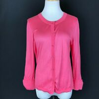 Kate Spade Pink Button-Front Cardigan Knit Cotton Size L *Missing Bottom Button