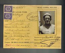 1945 Egypt Suez Canal Shore Leave Pass Revenue Pass US Sailor Harold Suggs