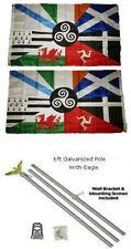 3x5 Celtic Nations Irish Provinces 2ply Flag Galvanized Pole Kit Eagle Top 3'x5'