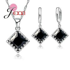 925 Sterling Silver BLACK Square CZ Crystal Necklace  Earrings Jewelry Set Gift