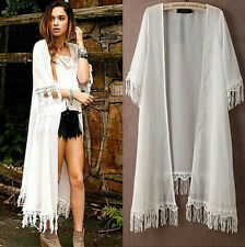 Women Chiffon Kimono Cardigan Long Loose Blouse TASSEL Beach Cover Up Coats Tops
