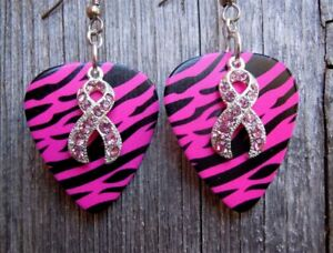 Pink Ribbon Crystal Charm Guitar Pick Earrings with Surgical Steel Earwires