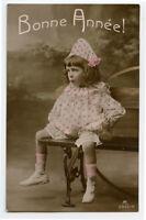 c 1909 Child Children CUTE CLOWN GIRL kids vintage photo postcard