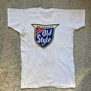 Velva Sheen Vintage 60s White Large Old Style Beer T Shirt Chicago Drinking L