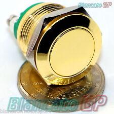 PULSANTE 19mm ORO SPST IP65 push button switch golden color flat 2A campanello