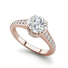 Diamond Engagement Ring Rose Gold Pave 1.55 Carat Si1/D Round Cut