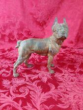 "Vintage Large Cast Iron Boston Terrier, Bull Dog Door Stop 10"" tall- nice!"