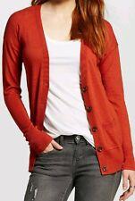 MOSSIMO Cardigan Rust Orange Boyfriend Cotton Sweater V-Neck XS