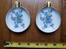 Vintage Set of 2 Mitterteich Bavaria Tea Spoon Rest Gold Trim Floral Germany