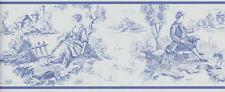 Colonial Toile Wallpaper Border  Williamsburg Blue on Soft White  CTG11902B