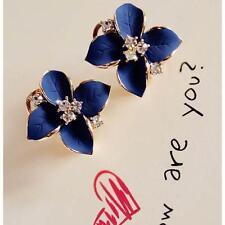 2017 Blue Flower Fashion Women Elegant  Crystal Ear Stud  Clip-On High Earrings