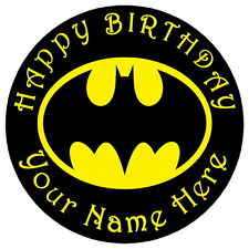 "BATMAN CLASSIC LOGO - 7.5"" PERSONALISED ROUND EDIBLE ICING CAKE TOPPER"