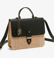 Disney Moana Straw & Faux Leather Polynesian Crossbody Purse Bag NEW