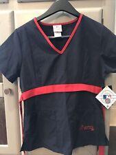 New With Tags Mlb Atlanta Braves Unisex Blue/red Medical Scrub/sleepwear Xs