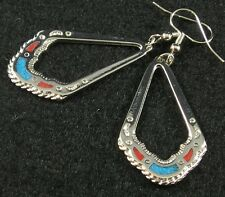 Turquoise Silver Plated Pewter Large Teardrop Turquoise Coral Chip Hook Earrings