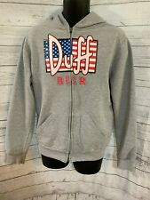 The Simpsons Hoodie Full Zip Duff Beer Sign USA Jack Flag Gray Size XL