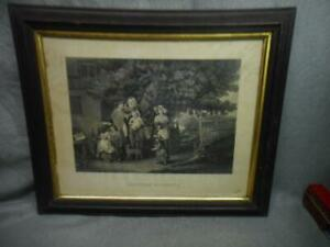 """ANTIQUE ENGRAVING """"FILIAL AFFECTION - GOING TO CHURCH CHRISTMAS MORNING""""  BIGG"""