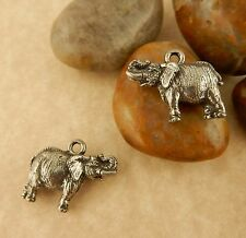 2 Pewter African Elephant 3D Charms