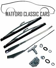 MGB GT Stainless Steel / Chrome Wiper Arms, Blades, Wheel Wiper Box & Bezel Kit