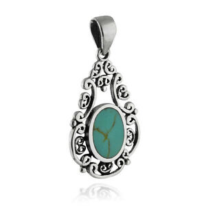 Filigree Synthetic Turqouise Pendant - 925 Sterling Silver - Oval Teardrop NEW