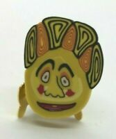 """Vintage Handmade Fimo TECHNIQUE POLY CLAY BUTTON """"Silly Face"""" Set of 4"""