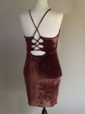 Coffee Velvet Dress Size L (Regular 12) Lace-up Back, Brown, Bodycon, Halter