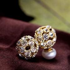 Pendiente`Orejas Clavo Doble perla cultivada Blanco Plano, liso 8-9mm Cristal