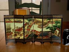 SCENE AT QINGMING FESTIVAL- Mini China Wood 6 panel Divider Lacquer Table Screen