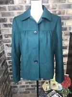 Banana Republic Women's size MEDIUM Wool Blend Jacket Green Coat EUC
