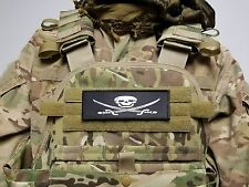 2x6 JOLLY ROGER Raid Morale Patch Hook Backed Maritime Security Pirate Skull