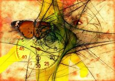 """perfect 36x24 oil painting handpainted on canvas """"butterfly and clock""""@N1520"""