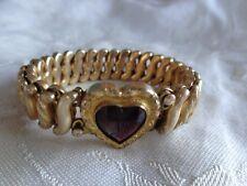 ANTIQUE GOLD FILLED CARMEN SWEETHEART EXPANSION HEART BRACELET RUBY GLASS STONE