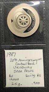 URUGUAY 1987 5000 PESOS 20th Ann Cent Bank/25 gr .900 silver coin & *No Reserve!