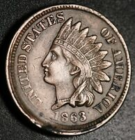 1863 INDIAN HEAD CENT -W LIBERTY & Near 4 DIAMONDS - AU UNC - OFF CENTER STRIKE!