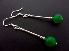 A PAIR OF TIBETAN SILVER/GREEN JADE EARRINGS WITH 925 SOLID SILVER HOOKS. NEW..