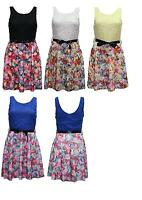 Women's Ladies Sleeveless Floral Lace Rose Print Belted Skater Dress Size 8-14