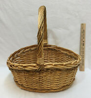 """Basket Woven Wicker Wood Reed Rattan w/ Fixed Handle Rope Round 15"""" Brown"""