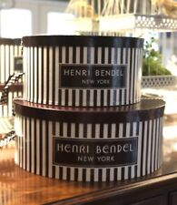 """Henri Bendel Hat Boxes, Set of 2, 18"""" and 14"""" Brown and White Stripes, Ribbon"""