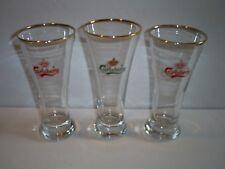 Set Of 3 Vintage Carlsberg Crown Logo Beer Glasses With Gold Around the Brim