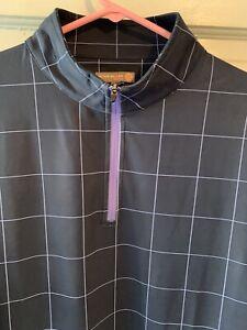 PETER MILLAR Men's 1/4 Zip E4 Wicking Golf Pullover Blue Plaid Sz XL
