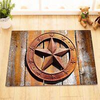 Retro Metal Western Texas Star Non-Slip Home Decor Bathroom Mat Rug Floor Carpet