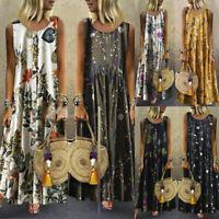 Women Boho O-Neck Floral Dress Sleeveless Summer Evening Long Maxi Sundress Plus