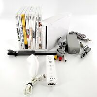 Nintendo Wii White Console Bundle w/ 8 Games, Controllers, Cables Tested & Works