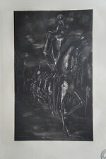 """JAN DARNA (1901/1974) Bois Gravé   """" DON QUICHOTTE """"  -  Cachet"""