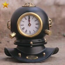 REPRODUCTION US NAVY ANTIQUE SOLID METAL MINI DIVING DIVERS HELMET WITH CLOCK
