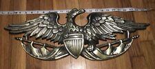 "Vtg Cast Metal American Eagle Wall Hanging Plaque - 24"" Japan 1055 w/ shield"