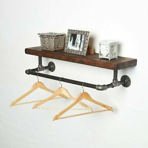 Industrial Clothes Rail With Solid Wood Shelf Rustic, Urban, Vintage, Steampunk!