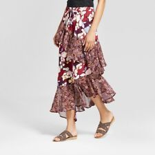 New Women's Ruffle Midi Skirt  Mossimo Supply Co. Burgundy Floral Size XXL