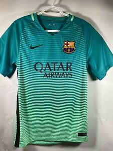 NIKE FC BARCELONA FCB QATAR AIRWAYS AUTHENTIC TEAL AWAY JERSEY 2016 SIZE S RARE