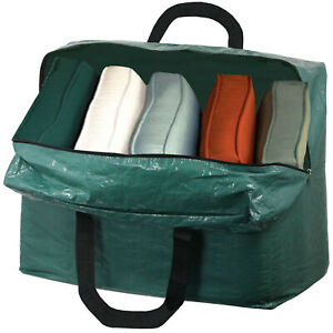 Large Zipped Storage Bag for Garden Patio Furniture Chair Cushion Green 75L
